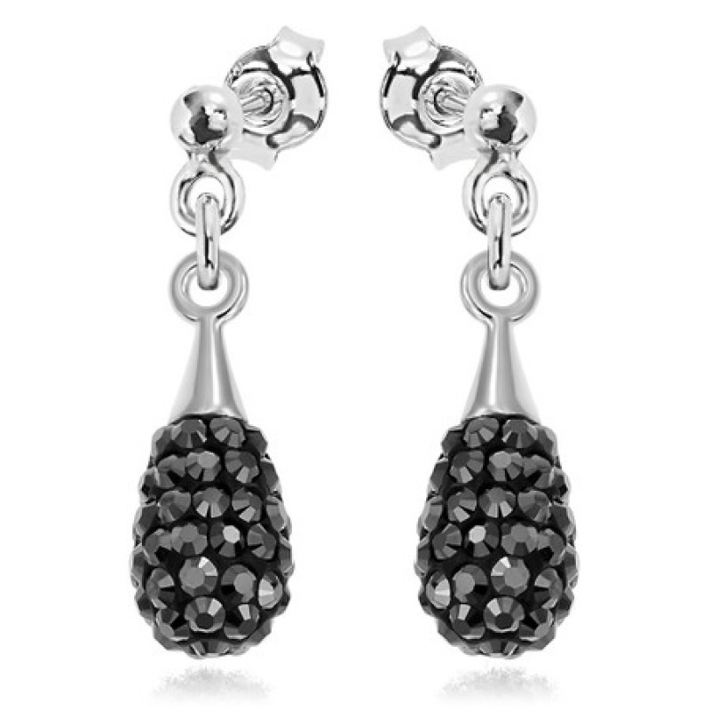 Earrings Chaton Mini-Drop, Jet Hematite