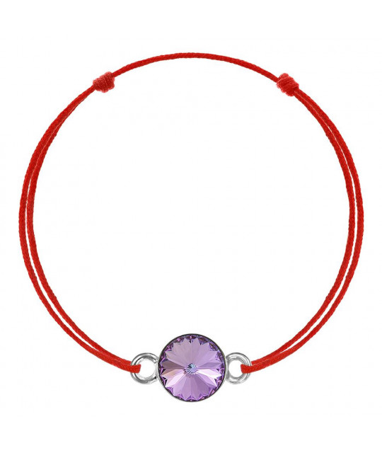 Red kabbalah bracelet with Swarovski crystal, Vitrail Light