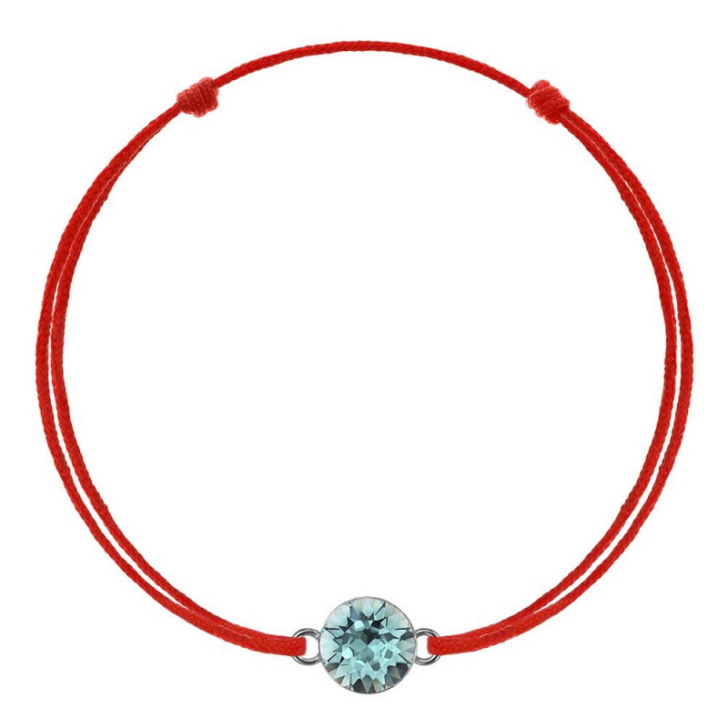 Kabbalah bracelet with Swarovski crystal, Light Turquoise