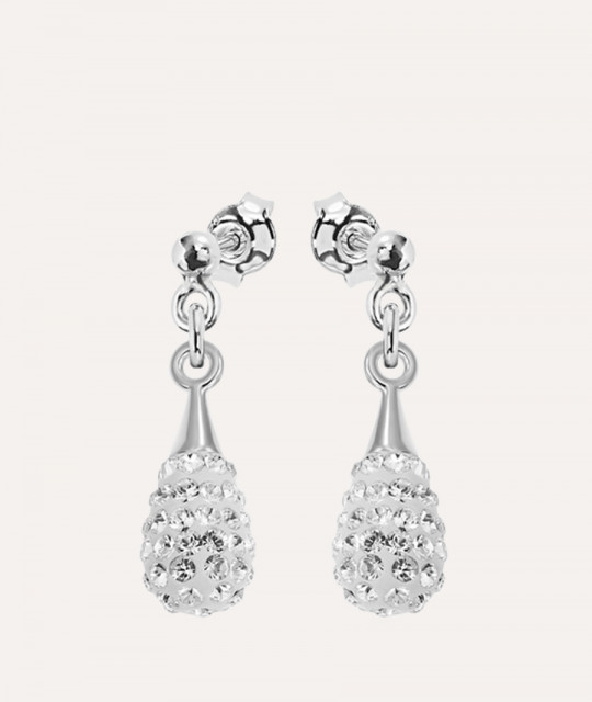 Earrings Chaton Mini-Drop, Crystal Clear
