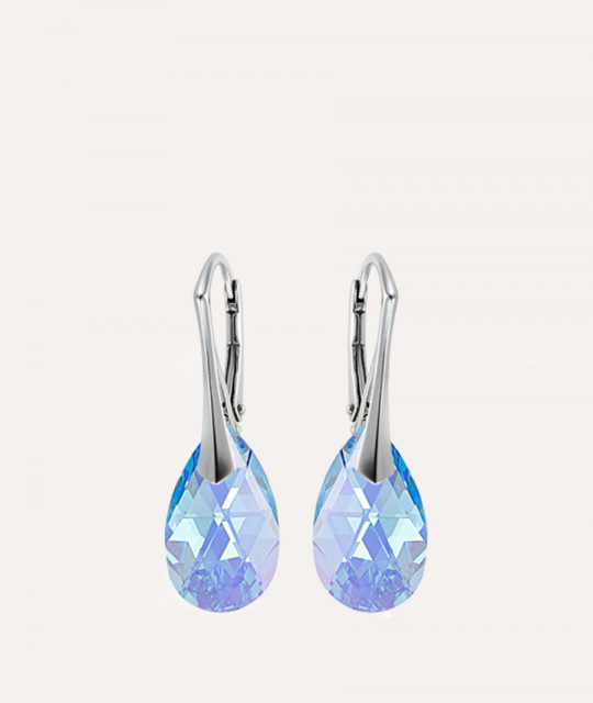 Earrings Mini Pear, Aquamarine, 16 mm