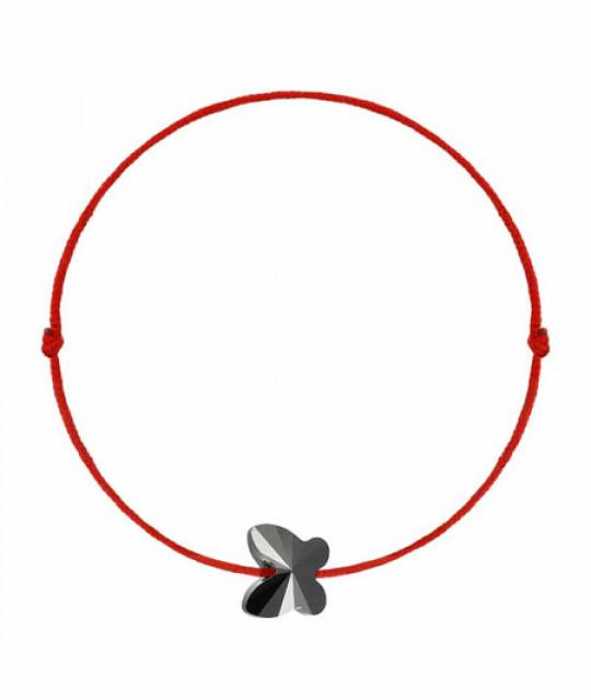 Kabbalah bracelet with Swarovski crystal, Butterfly Jet