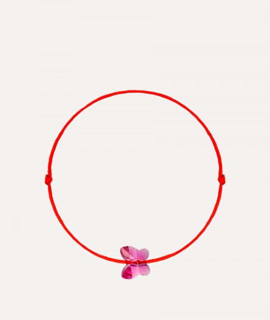 Kabbalah bracelet with Swarovski crystal, Butterfly Fuchsia