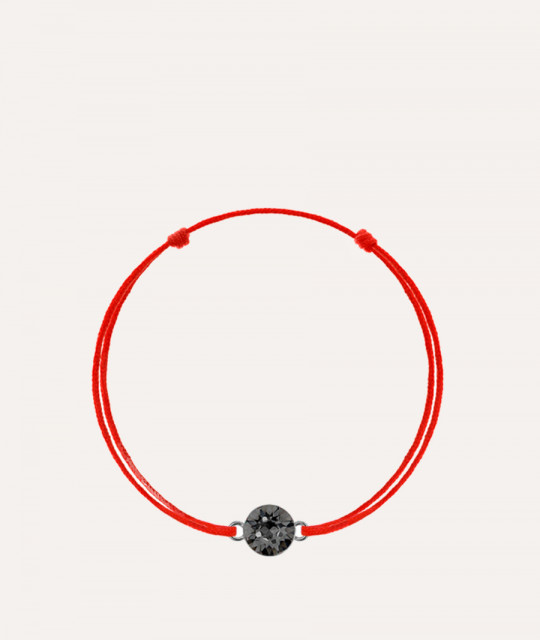 Red kabbalah with Swarovski Xirius crystal, Silver Night