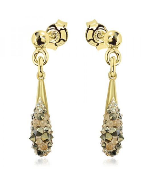 Earrings Chaton Drop, Gold Shades Surub