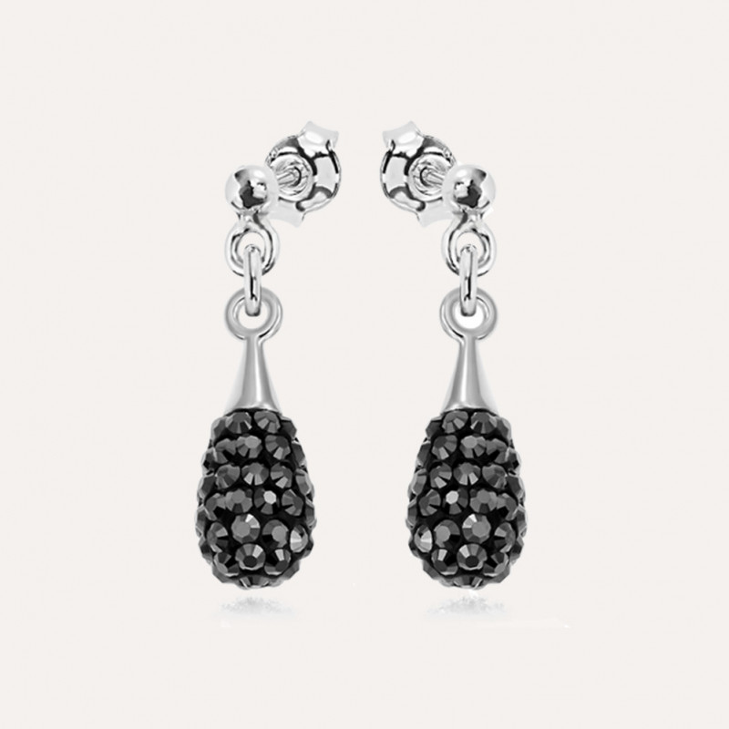 Cерьги Chaton Mini-Drop, Jet Hematite