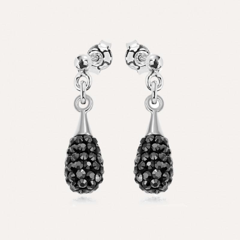 Earrings Chaton Mini-Drop, Jet Hematite