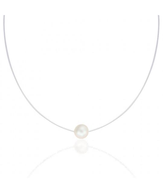Silikoni kaulakoru Swarovskin kristallihelmillä, Pearl white