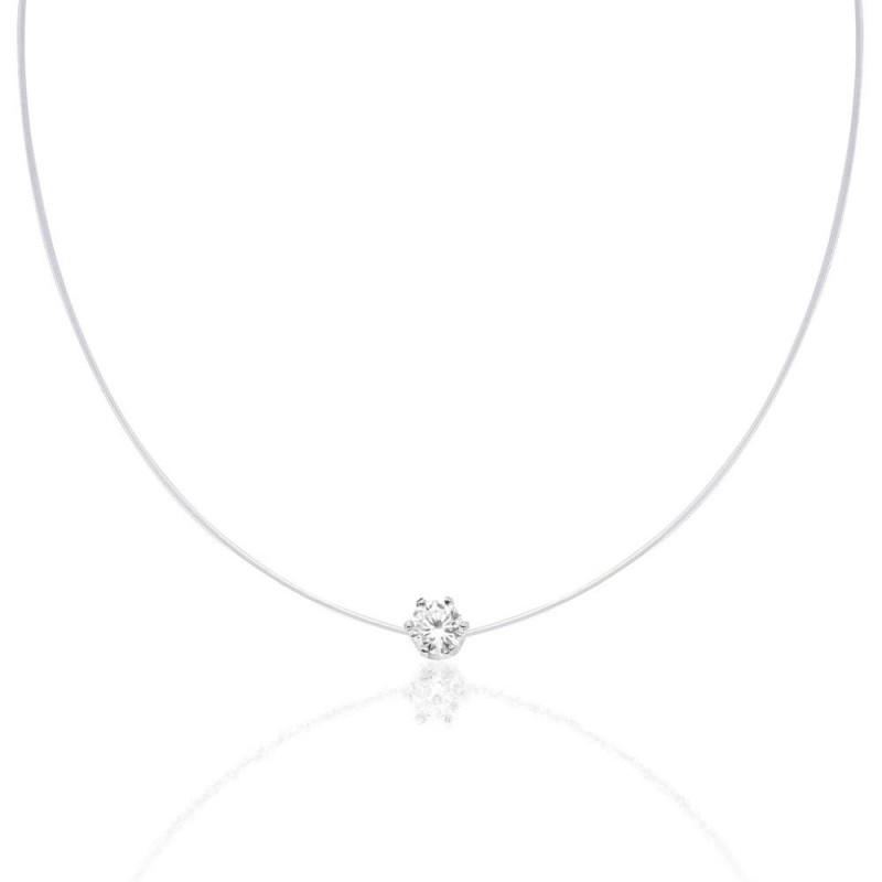 Silicone necklace with Swarovski Xirius Queen crystal, Crystal Clear