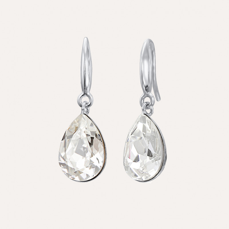 925 Silver earrings with Swarovski® Fancy pear buc 1 8.933 8.93 exempt with deduction 14mm hook Crystal clear