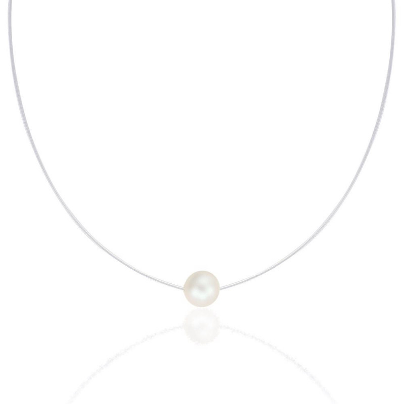 Silicone necklace with Swarovski crystal pearl, Pearl white
