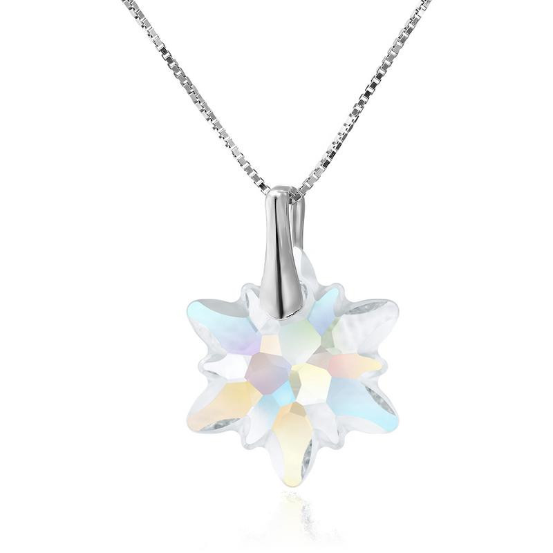 925 Silver necklace with Cristals from Swarovski Snowflake 18mm
