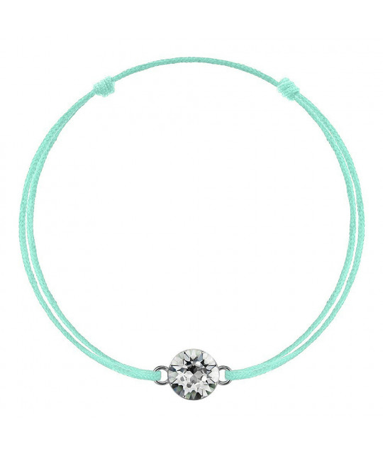 Green mint kabbalah with Swarovski Xirius crystal, Crystal Clear