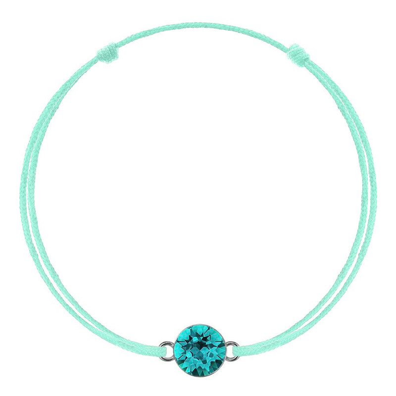 Green mint with Swarovski Xirius crystal, Blue Zircon
