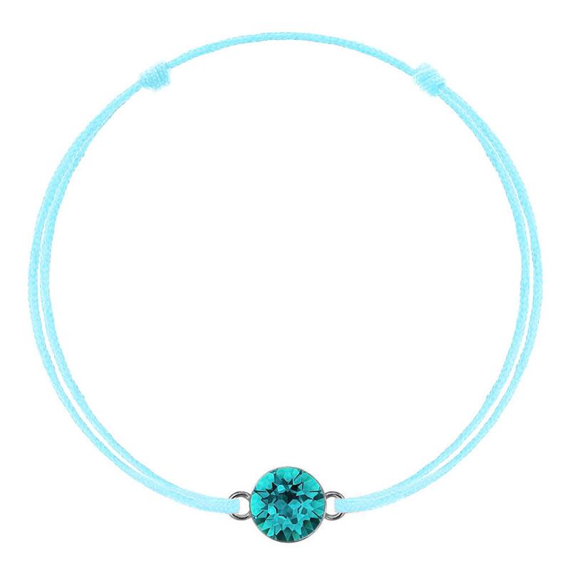 Green mint kabbalah with Swarovski Xirius crystal, Blue Zircon