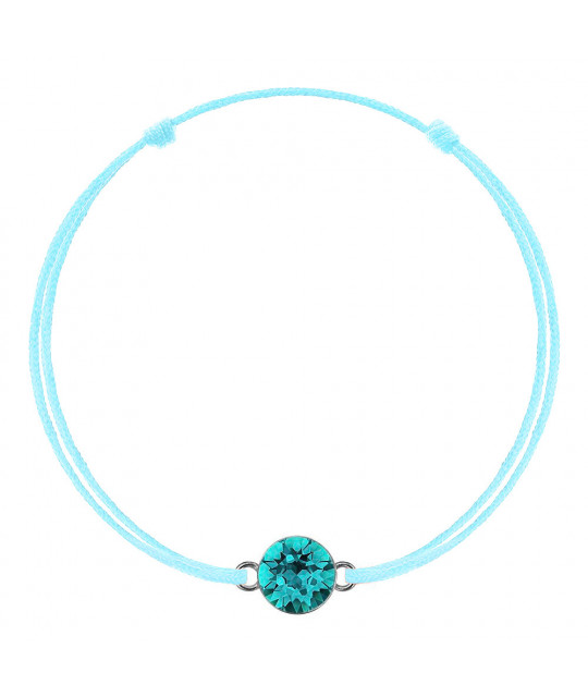 Green mint kabbalah with Swarovski Xirius crystal, Blue Zircon