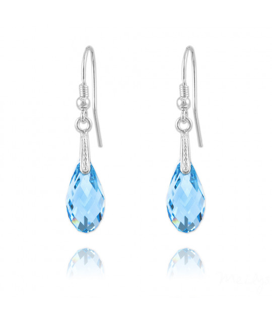 Earrings Briolette, Aquamarine, 17 mm