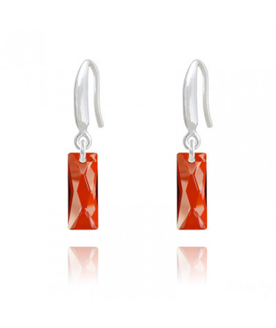 Earrings Mini Queen Baguette, Red Magma