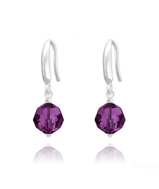 Earrings Faceted Bead, Amethyst, 8 mm