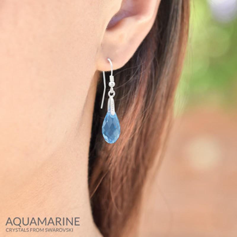 Earrings Briolette, Aquamarine, 17 mm