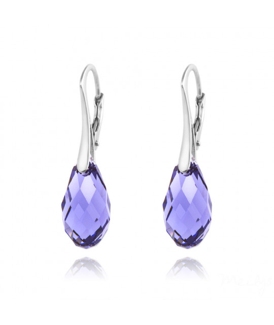Earrings Briolette, Tanzanite, 17 mm