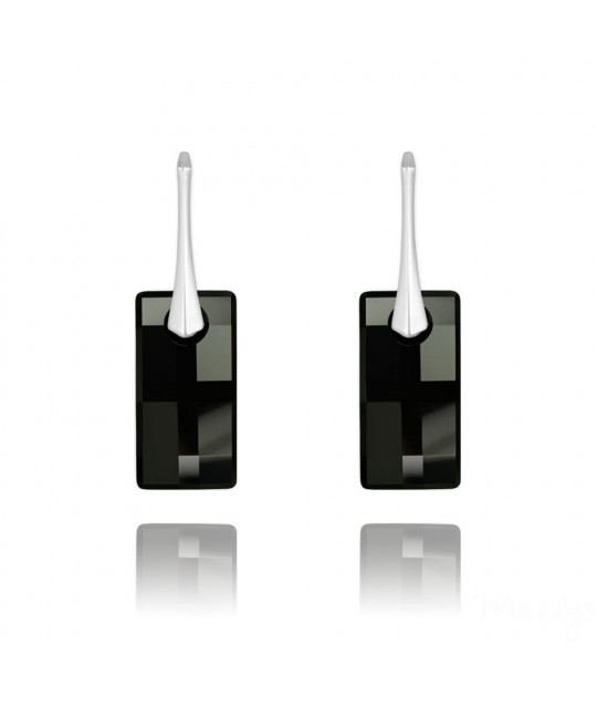 Earrings Urban, Crystal Jet, 20 mm