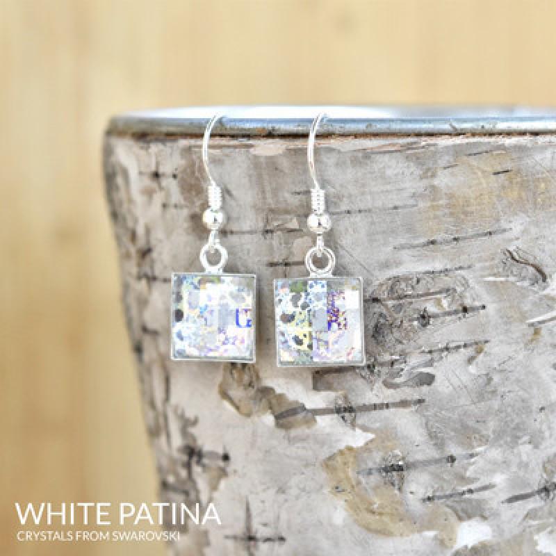 Earrings Chessboard, White Patina