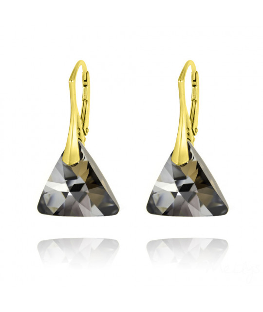 Earrings Triangle, Silver Night, 16 mm