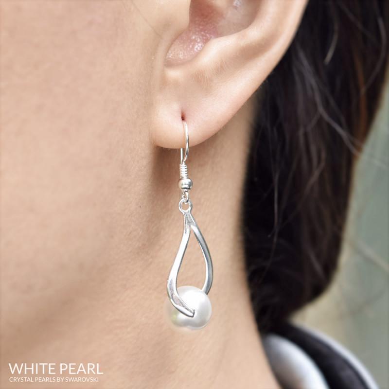 Kõrvarõngad Curvy Nacreous, White