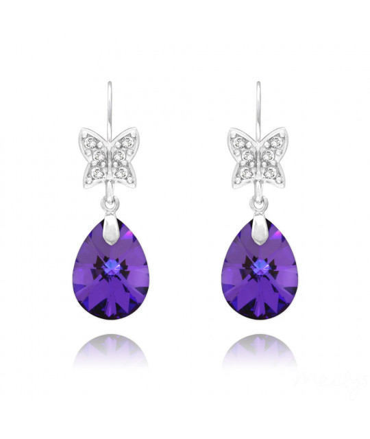 Earrings, Butterfly on pear Xilion, Heliotrope