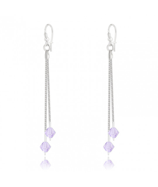 Earrings Bicone Silver Drop, Light Amethyst