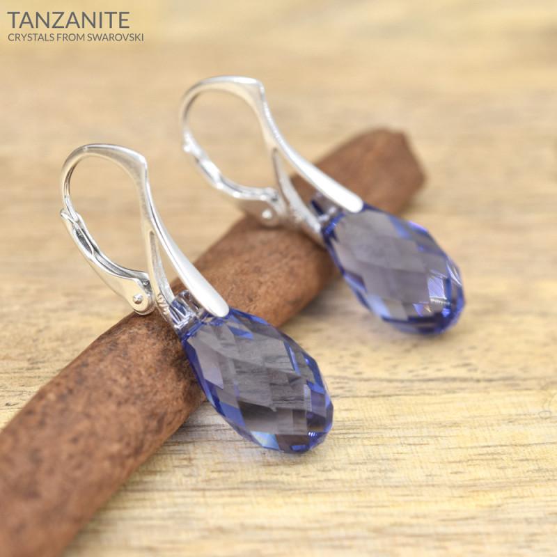 Earrings Briolette, Tanzanite, 17 mm