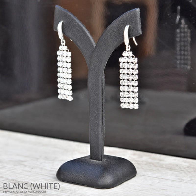 Earrings Mesh 4 Rows, White AB