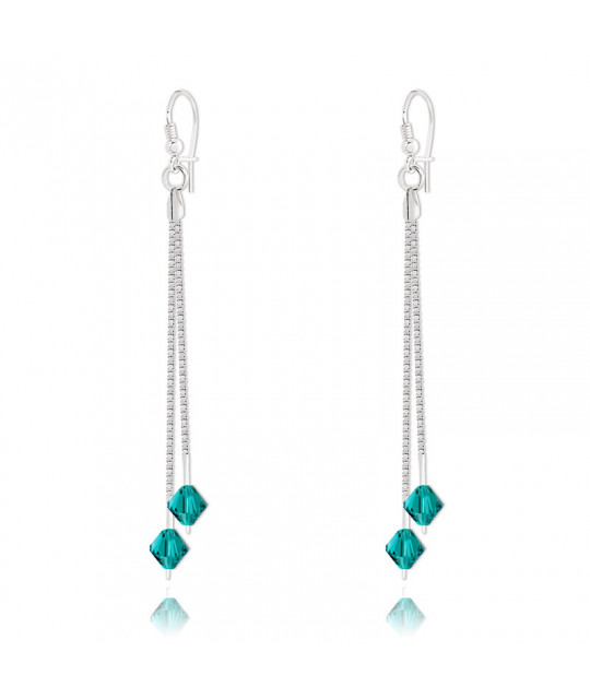 Earrings Bicone Silver Drop, Blue Zircon