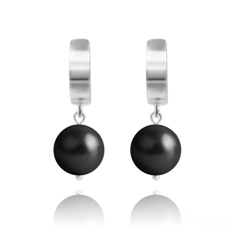 Earrings Nacreous Pearl, Mystic Black, 10 mm