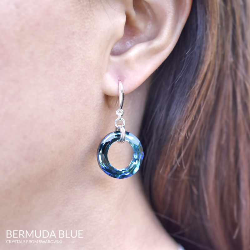 Earrings Cosmic Ring, Bermuda Blue, 20 mm