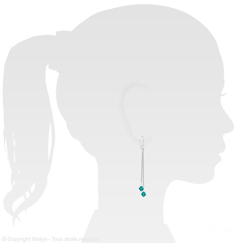 Earrings Bicone Silver Drop, Blue Zircon