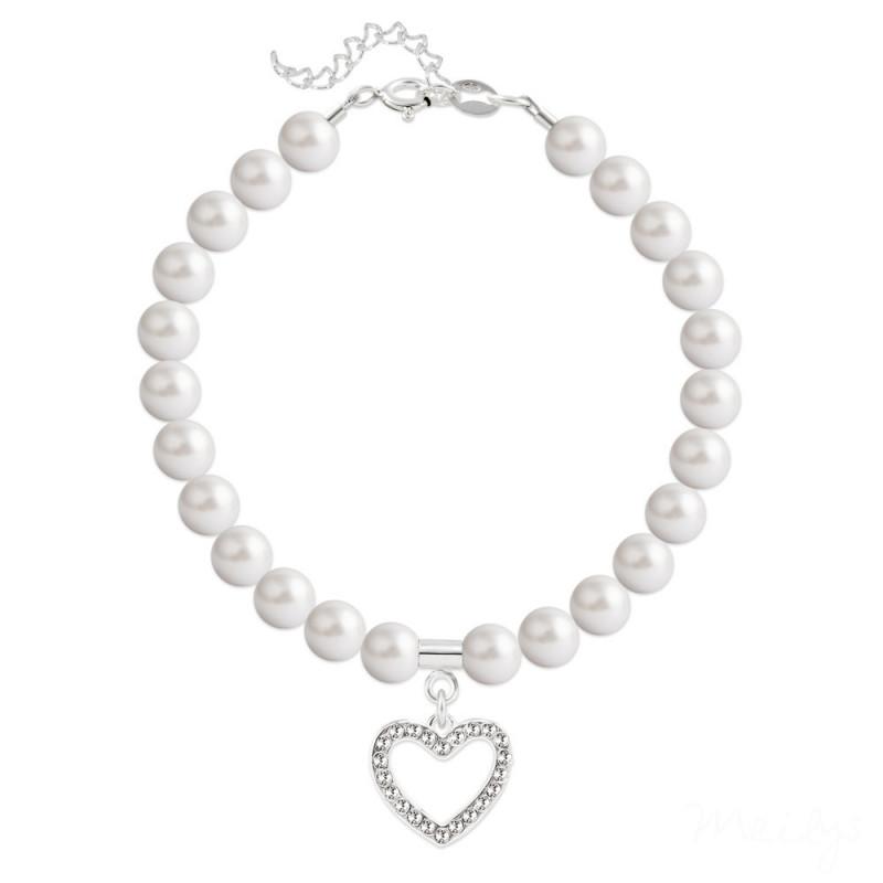 Bracelet Heart Silver, Pearl White