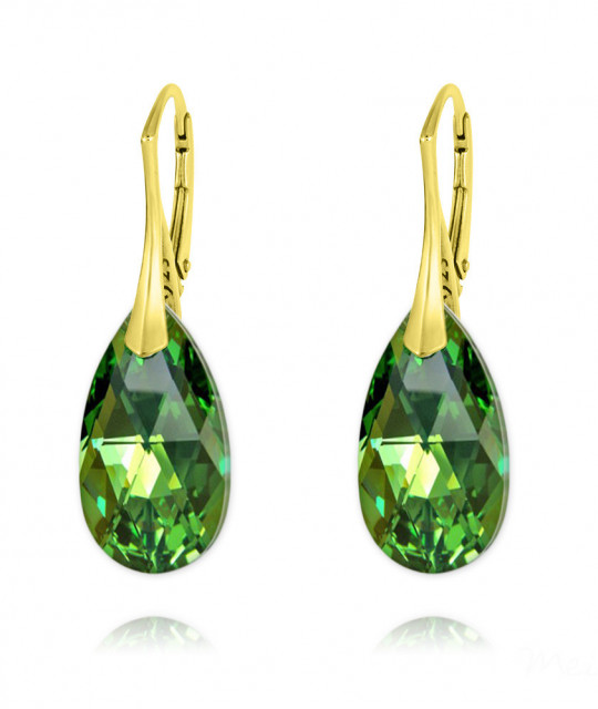 Earrings Pear, Peridot AB, 22 mm
