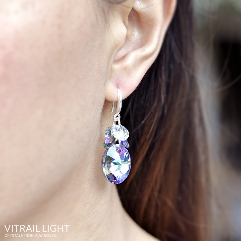 Earrings Oval Xilion, Vitrail Light