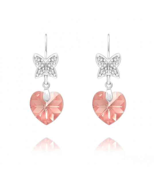 Earrings Butterfly on Heart, Light Rose AB