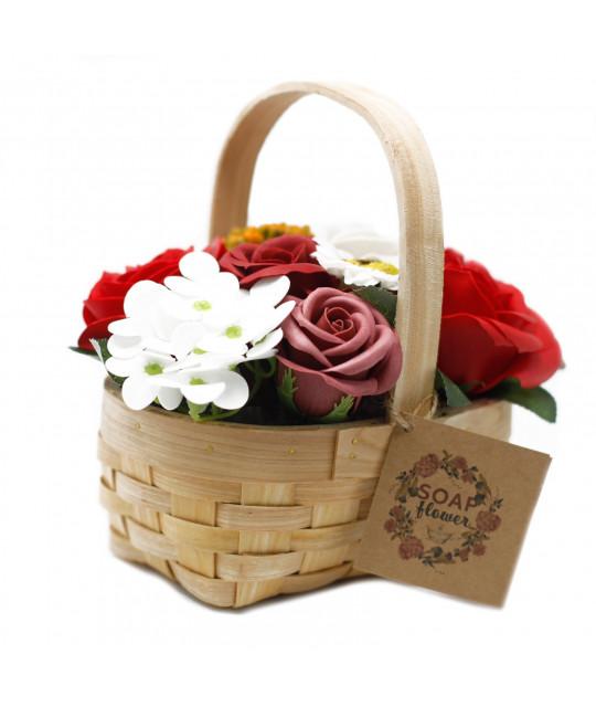 Средняя плетёная корзина цветов из мыла, Красная