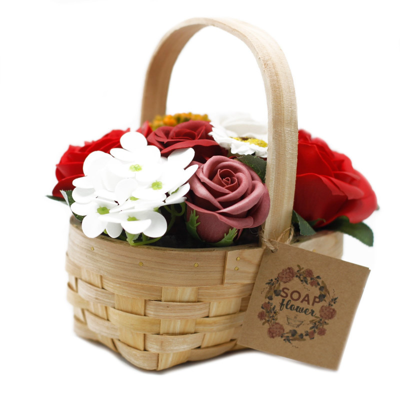 Medium Bouquet in Wicker Basket, Red
