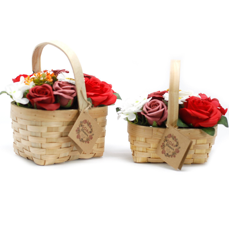 Large Bouquet in Wicker Basket, Red
