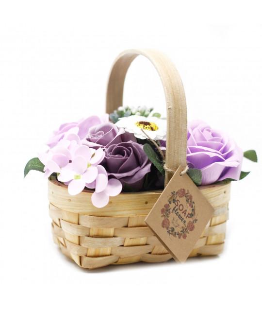 Средняя плетёная корзина цветов из мыла, Лиловая