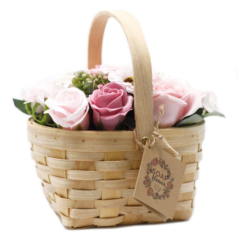 Большая плетёная корзина цветов из мыла, Розовая