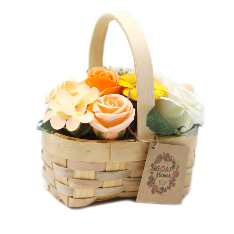 Medium Bouquet in Wicker Basket, Orange