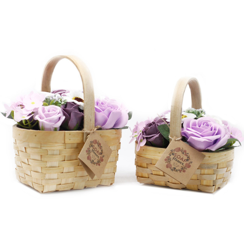 Large Bouquet in Wicker Basket, Lilac