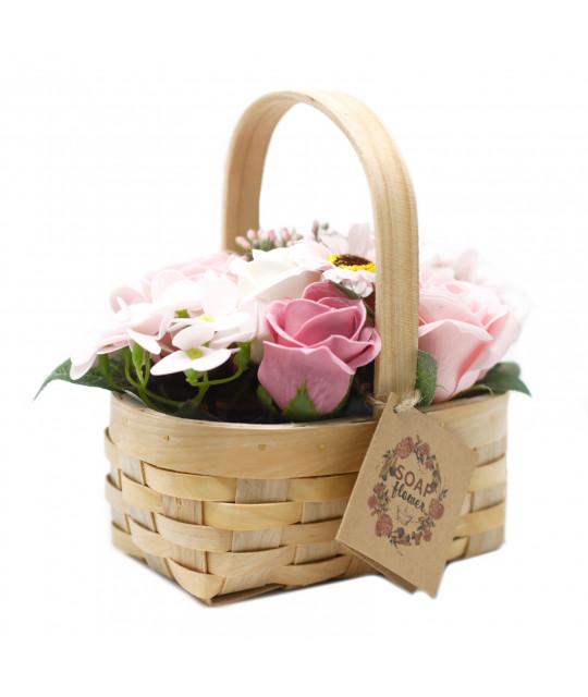Средняя плетёная корзина цветов из мыла, Розовая