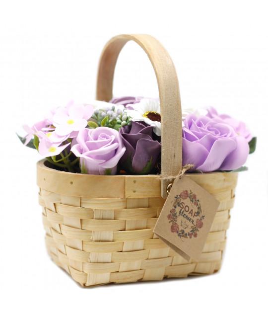 Большая плетёная корзина цветов из мыла, Лиловая